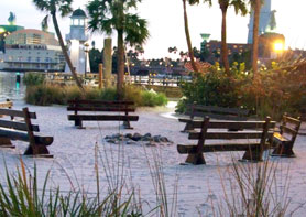 Beach area behind Te Beach Club Resort at Disney