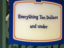 Everything's Under Ten Dollars discount store at Downtown Disney Marketplace