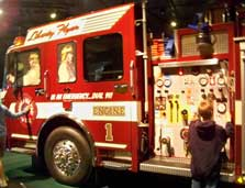 The Wheres the Fire? exhibit has a real firetruck for children to play on.
