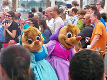 The mice from Cinderella greet viewers of theCelebrate Dreams Come True Parade