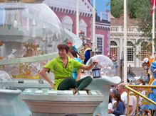 Peter Pan and Wendy on a float in the Celebrate Dreams Parade