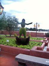 Aladdin topiary in the  Morocco pavilian at Epcot