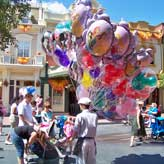 Cast Member selling Balloons on Main Street, USA